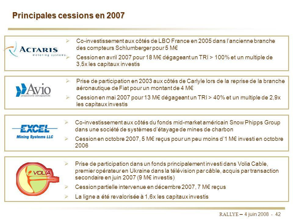 Principales cessions en 2007