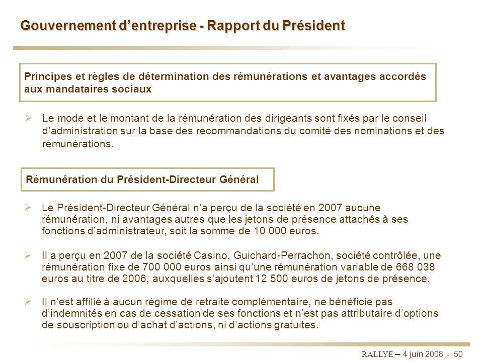 Gouvernement d'entreprise - Rapport du Président