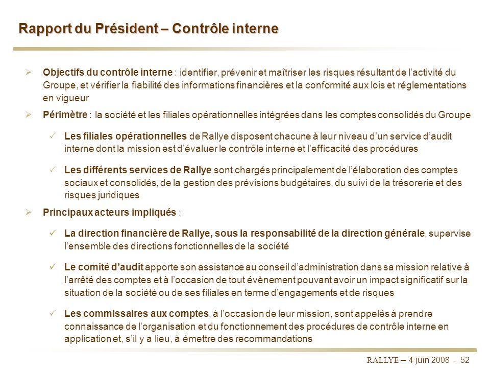 Rapport du Président – Contrôle interne