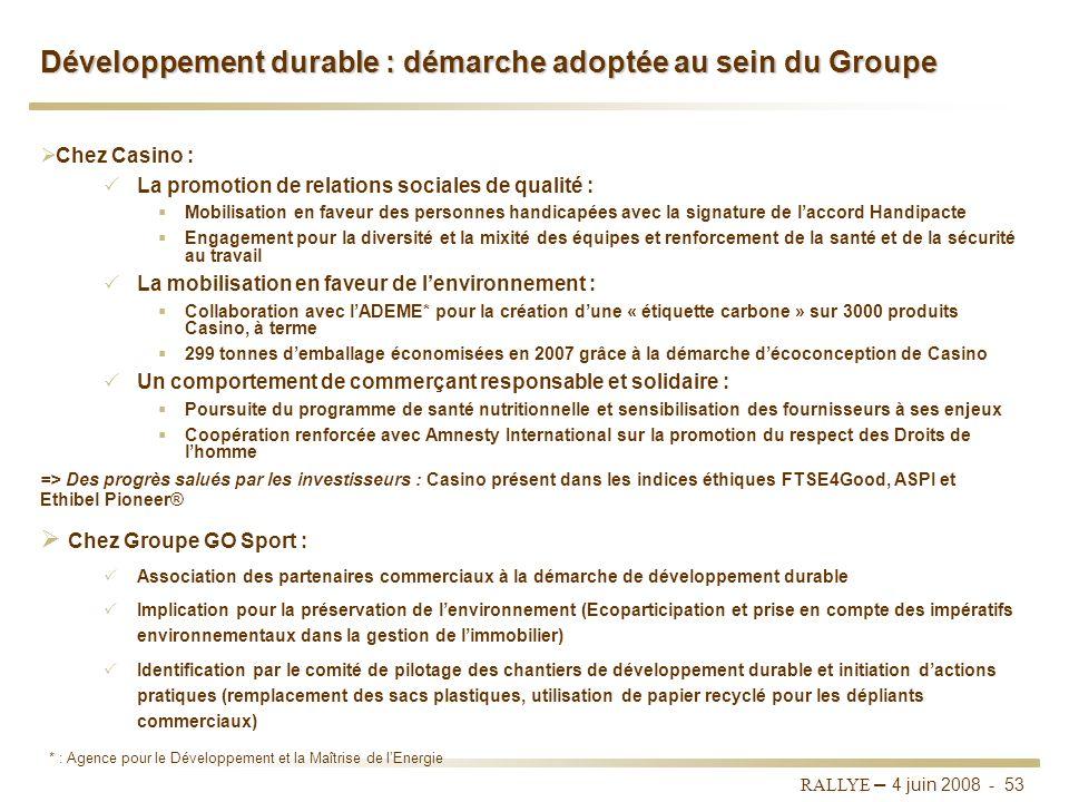 Développement durable : démarche adoptée au sein du Groupe