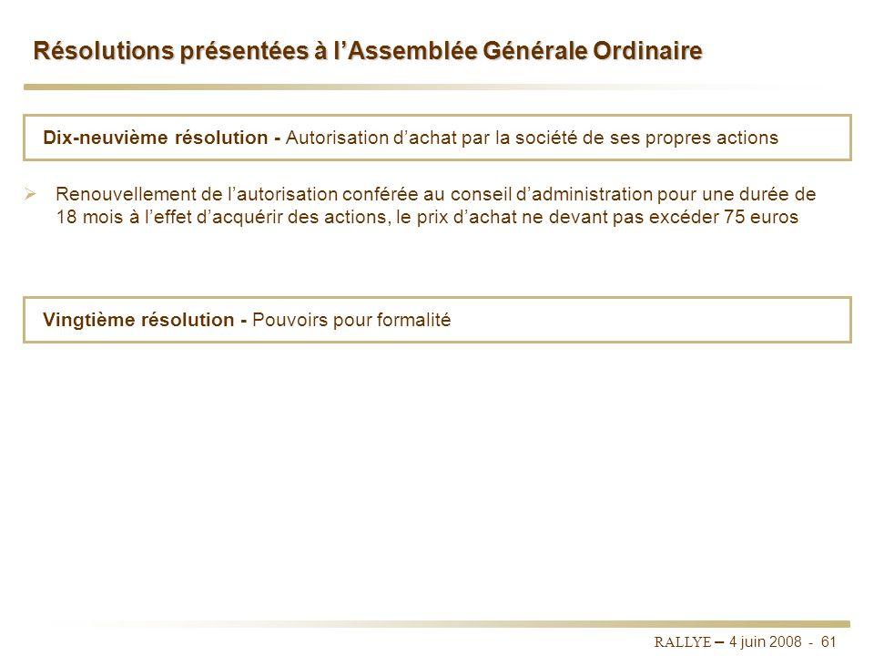 Résolutions présentées à l'Assemblée Générale Ordinaire