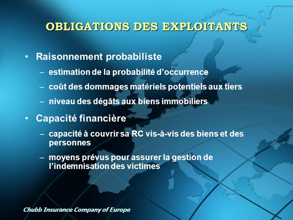 OBLIGATIONS DES EXPLOITANTS