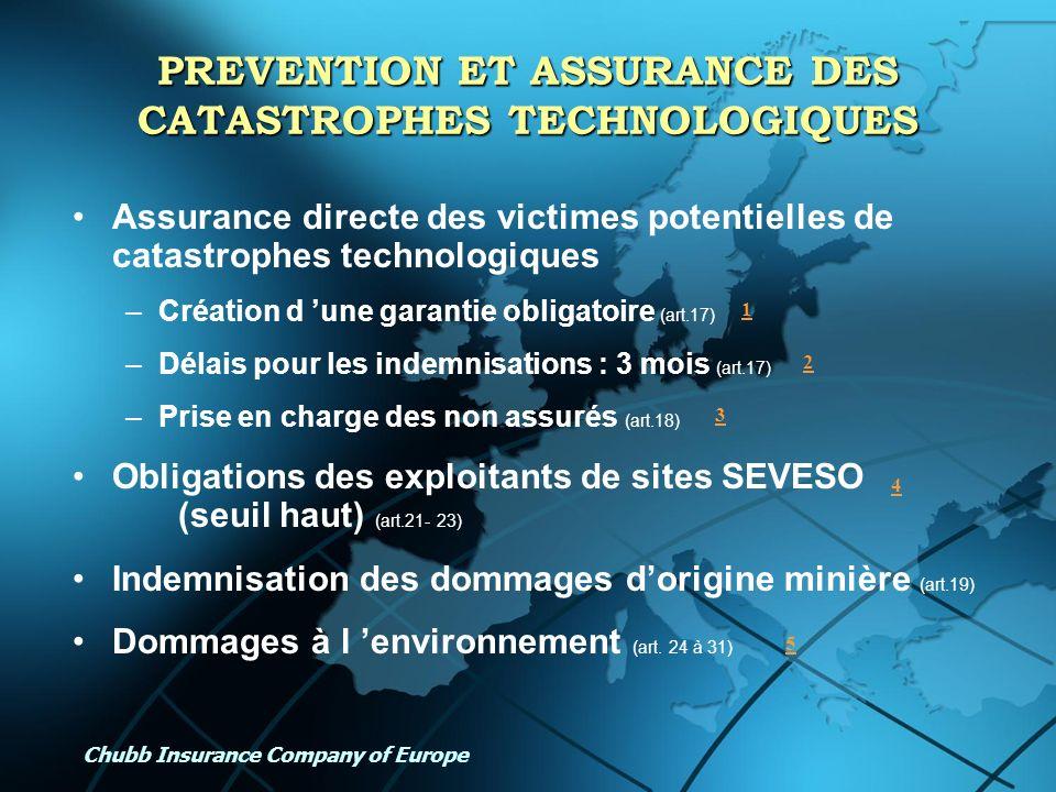 PREVENTION ET ASSURANCE DES CATASTROPHES TECHNOLOGIQUES