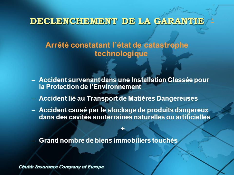 DECLENCHEMENT DE LA GARANTIE