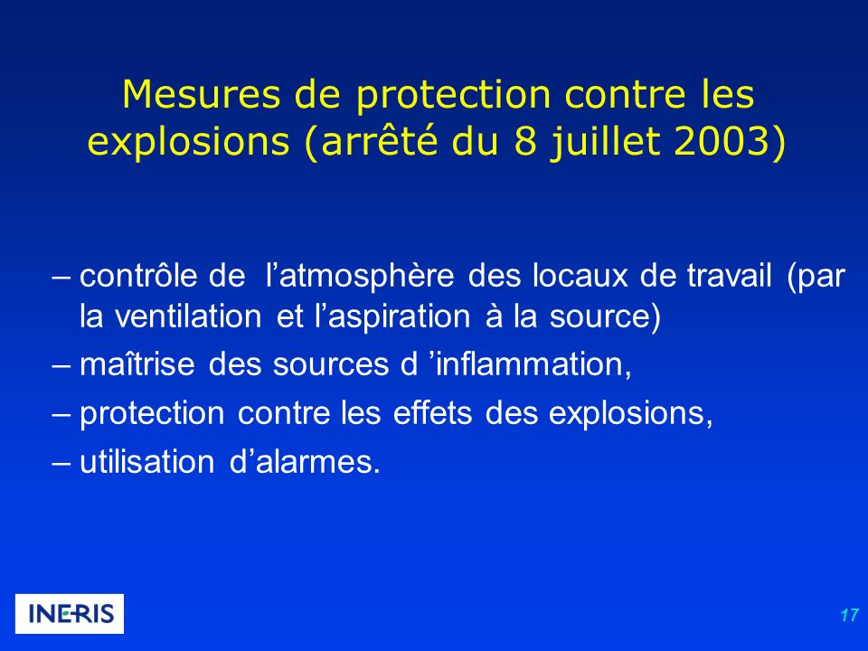 Mesures de protection contre les explosions (arrêté du 8 juillet 2003)