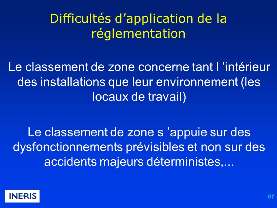Difficultés d'application de la réglementation