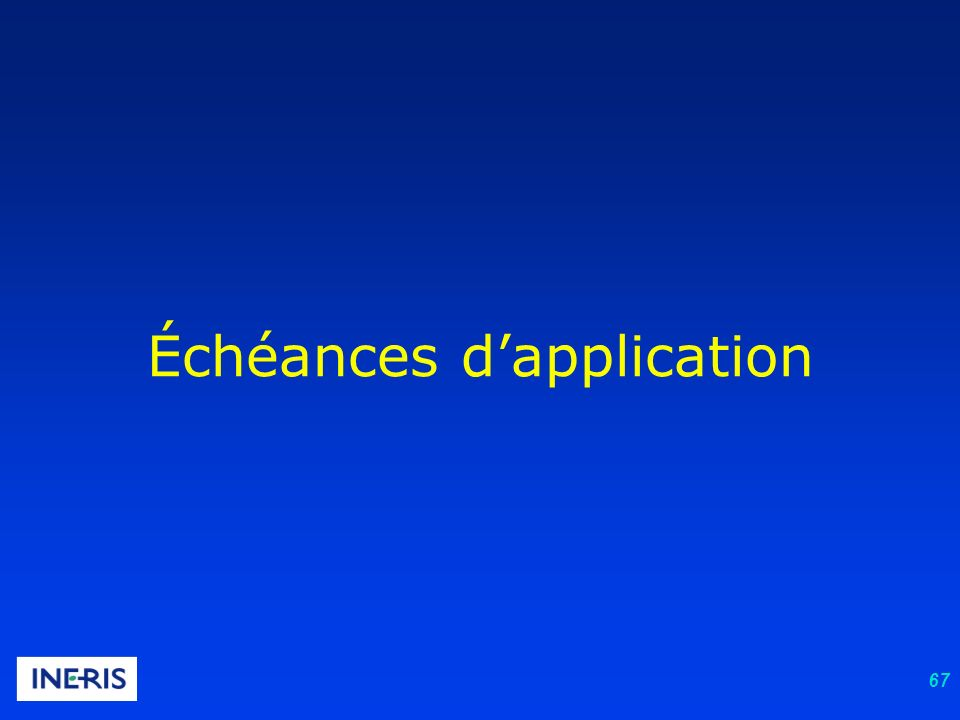 Échéances d'application
