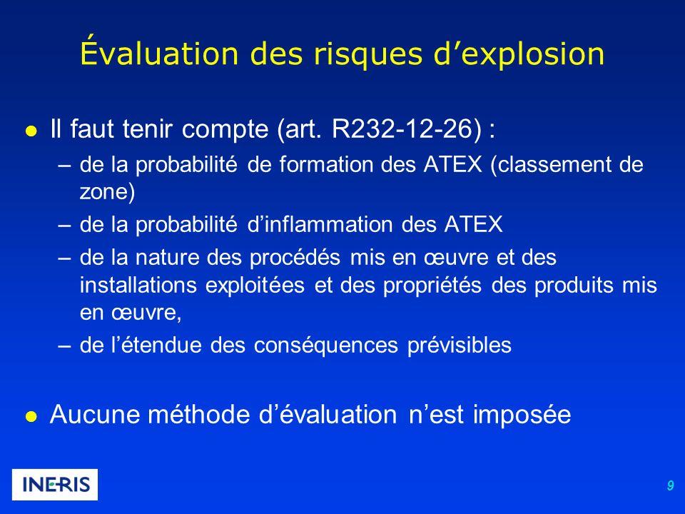 Évaluation des risques d'explosion