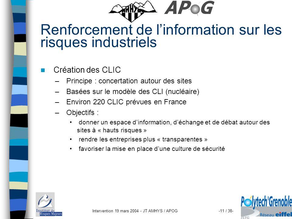 Renforcement de l'information sur les risques industriels