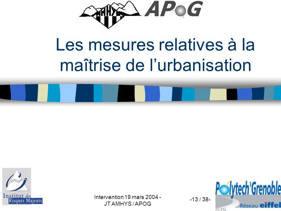 Les mesures relatives à la maîtrise de l'urbanisation