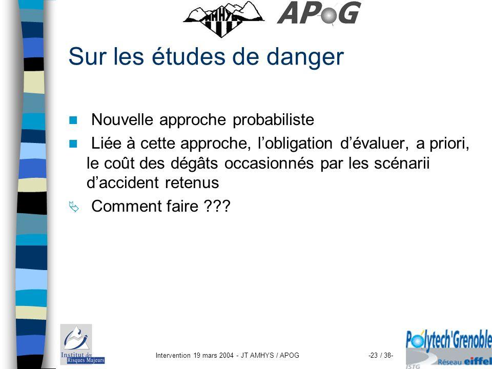 Sur les études de danger