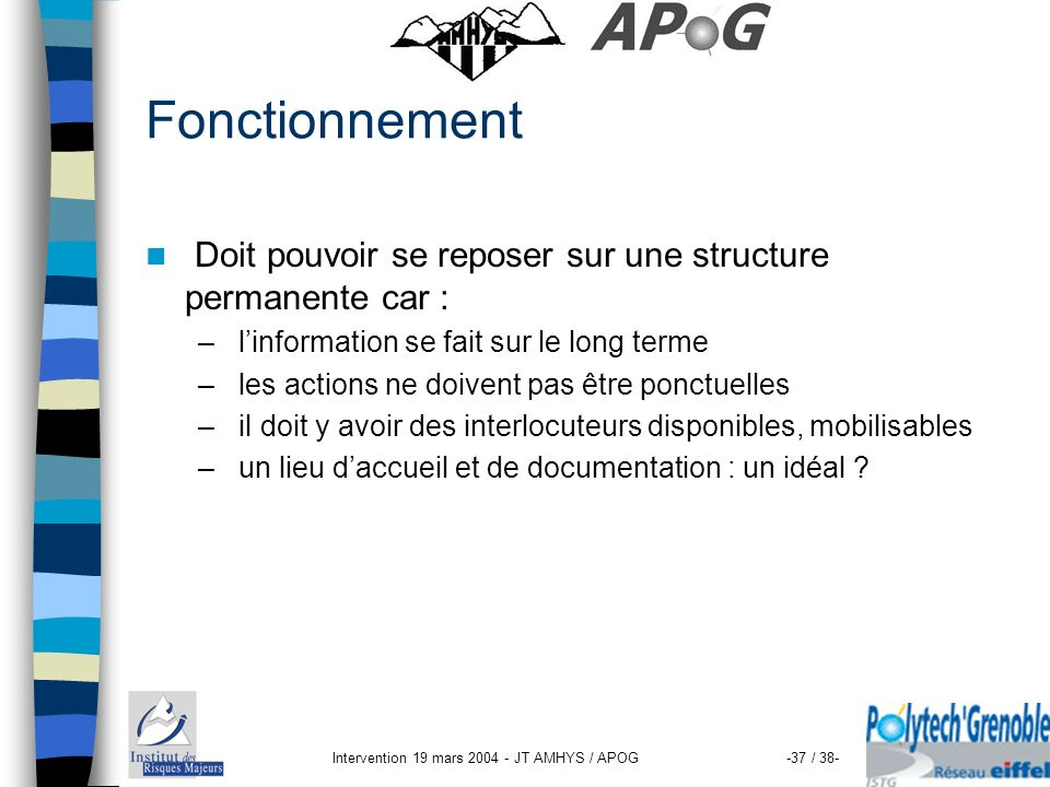 Intervention 19 mars 2004 - JT AMHYS / APOG