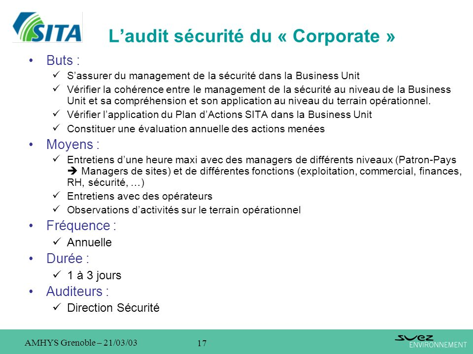 L'audit sécurité du « Corporate »