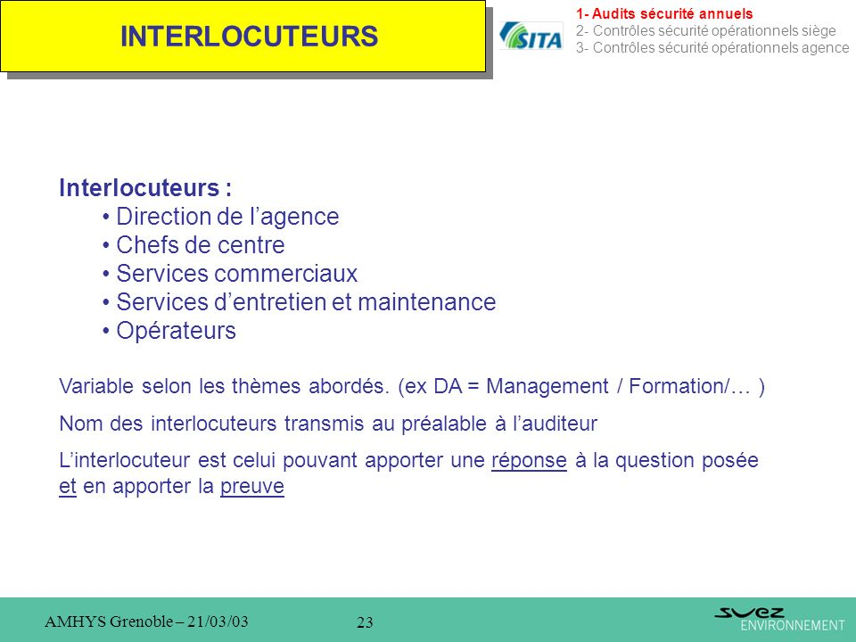 INTERLOCUTEURS Interlocuteurs : Direction de l'agence Chefs de centre