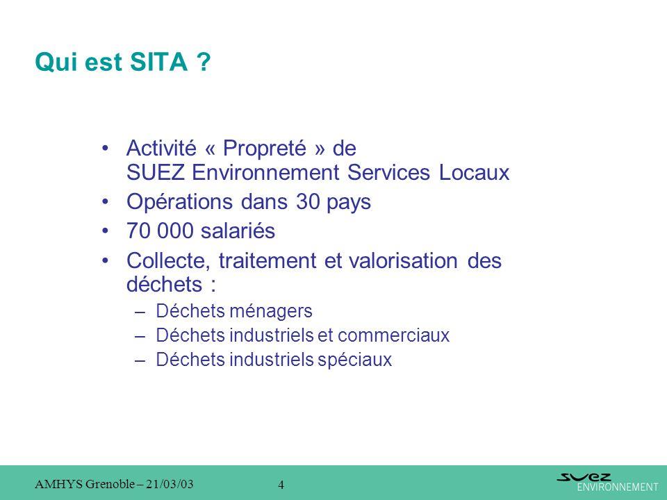 Qui est SITA Activité « Propreté » de SUEZ Environnement Services Locaux. Opérations dans 30 pays.