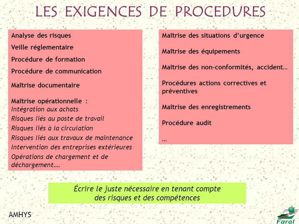 LES EXIGENCES DE PROCEDURES