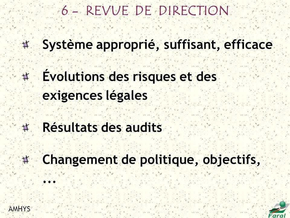 6 - REVUE DE DIRECTION Système approprié, suffisant, efficace