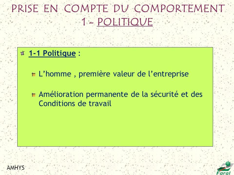 PRISE EN COMPTE DU COMPORTEMENT 1 - POLITIQUE