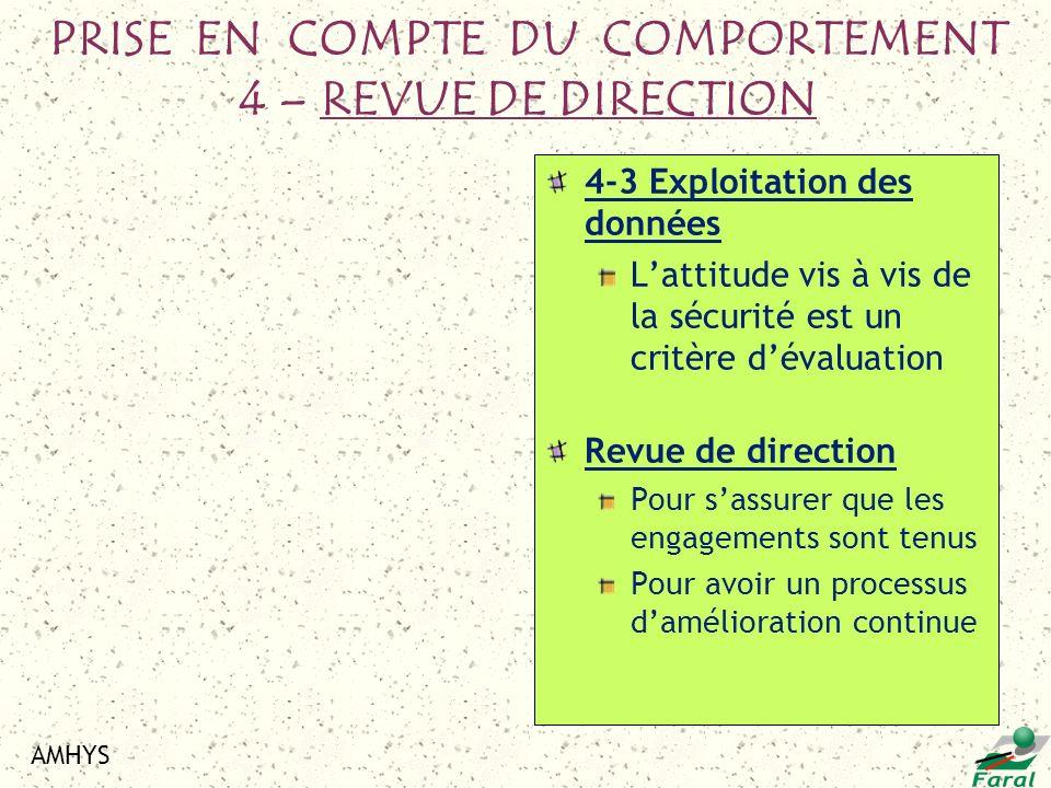 PRISE EN COMPTE DU COMPORTEMENT 4 – REVUE DE DIRECTION