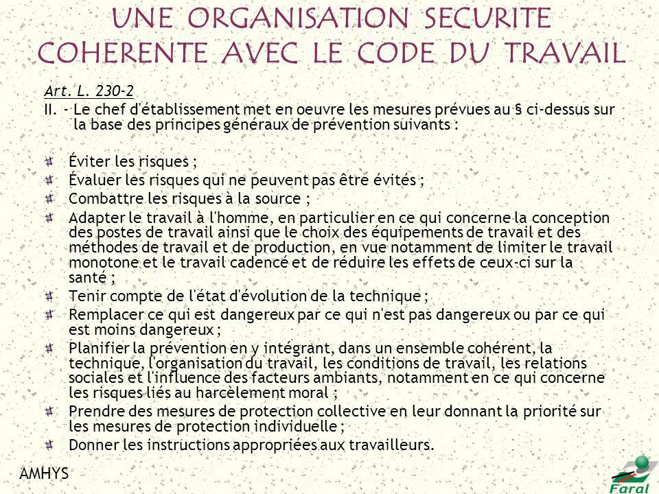 UNE ORGANISATION SECURITE COHERENTE AVEC LE CODE DU TRAVAIL