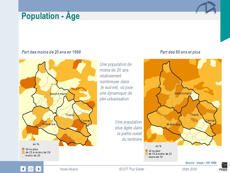 Population - Âge Part des moins de 20 ans en 1999. Part des 60 ans et plus. Une population de moins de 20 ans relativement nombreuse dans.