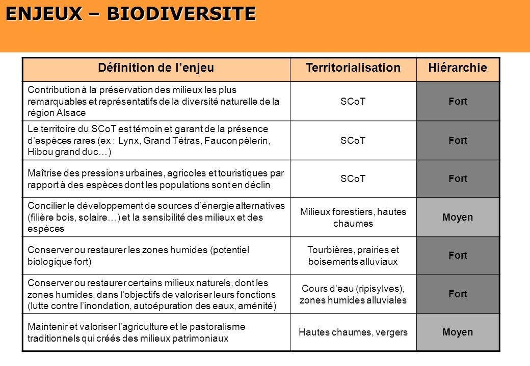 ENJEUX – BIODIVERSITE Définition de l'enjeu Territorialisation
