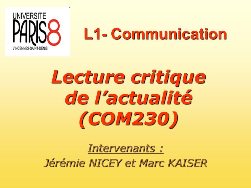 Lecture critique de l'actualité (COM230)