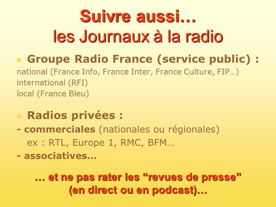Suivre aussi… les Journaux à la radio