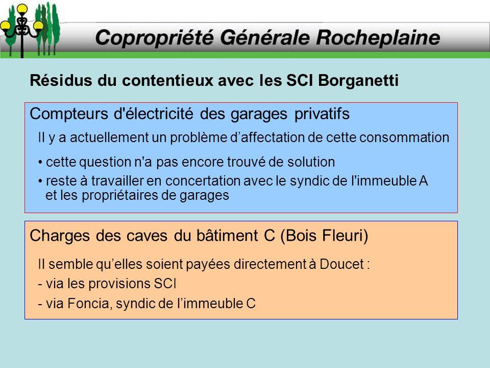 Résidus du contentieux avec les SCI Borganetti