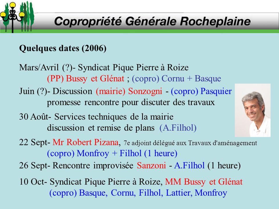 Quelques dates (2006) Mars/Avril ( )- Syndicat Pique Pierre à Roize. (PP) Bussy et Glénat ; (copro) Cornu + Basque.
