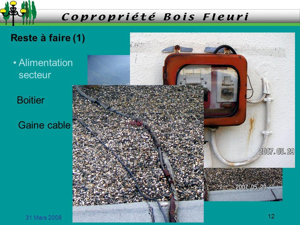 Reste à faire (1) • Alimentation secteur Boitier Gaine cable