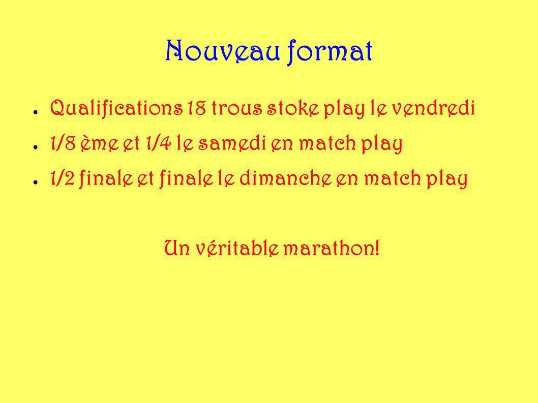 Nouveau format Qualifications 18 trous stoke play le vendredi
