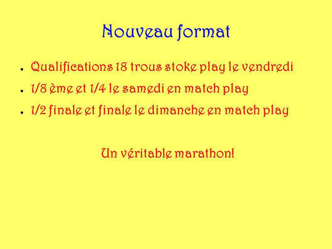 Nouveau format Qualifications 18 trous stoke play le vendredi