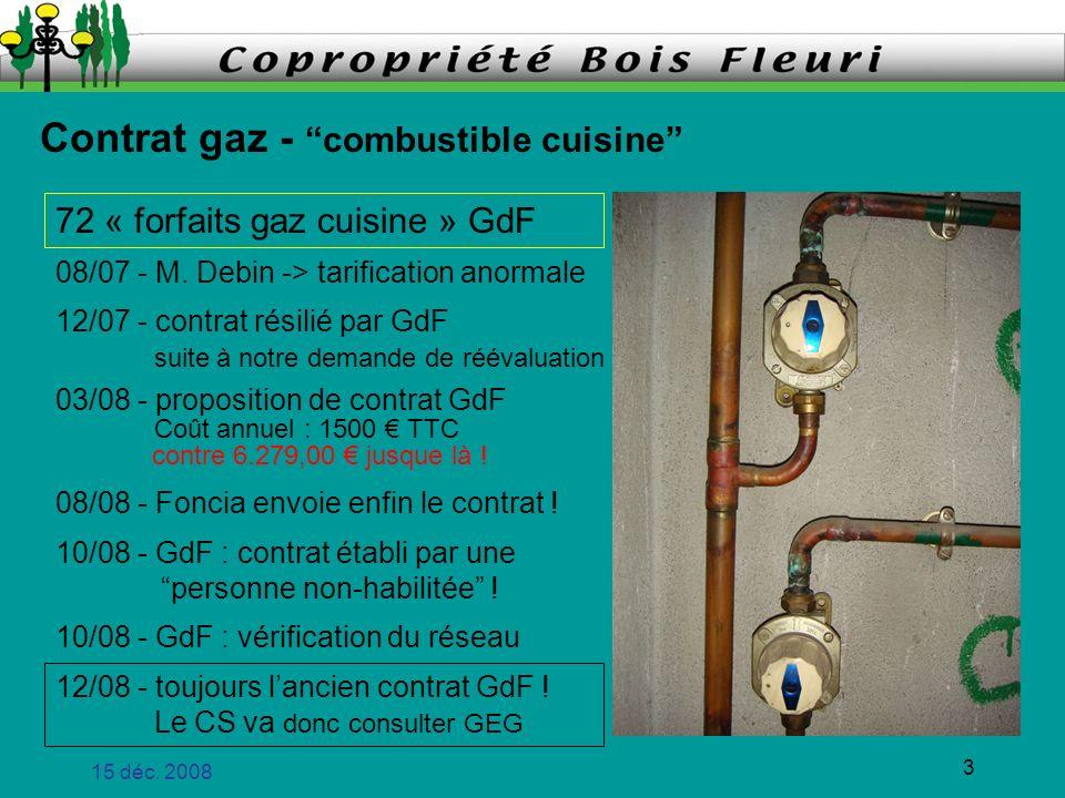 Contrat gaz - combustible cuisine
