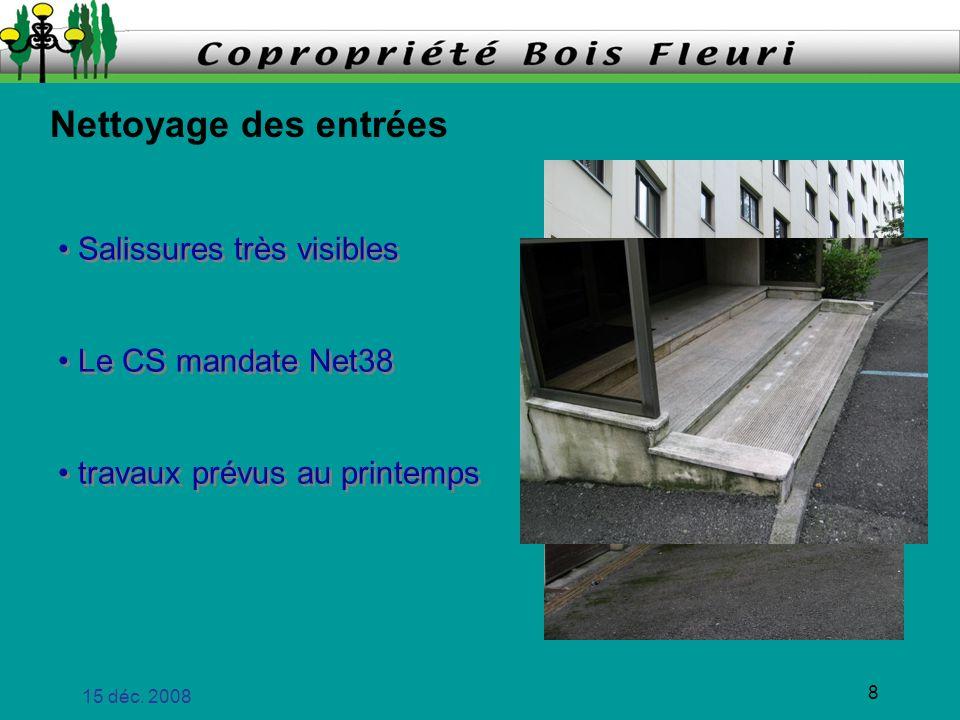 Nettoyage des entrées Salissures très visibles Le CS mandate Net38