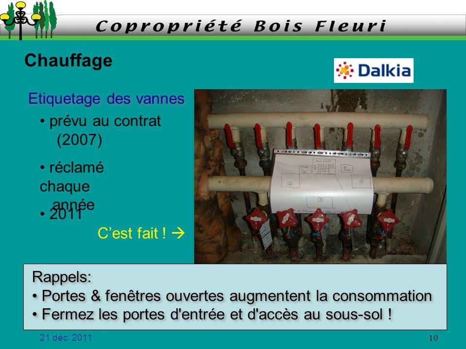 Chauffage Etiquetage des vannes prévu au contrat (2007) réclamé chaque