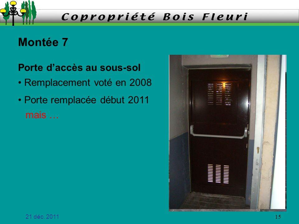 Montée 7 Porte d'accès au sous-sol Remplacement voté en 2008