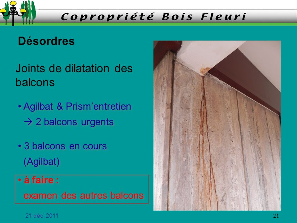 Joints de dilatation des balcons