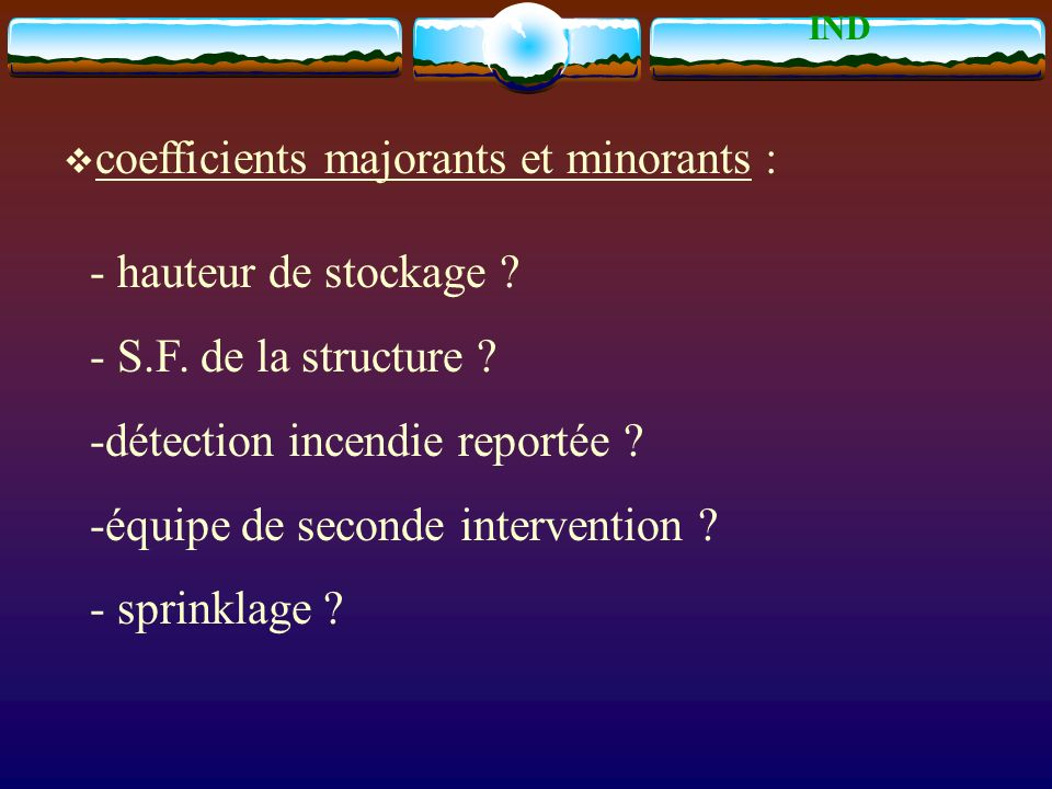coefficients majorants et minorants :