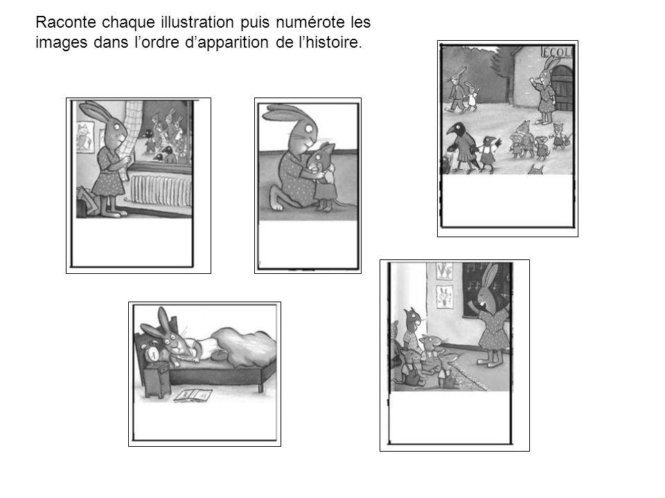 Raconte chaque illustration puis numérote les images dans l'ordre d'apparition de l'histoire.