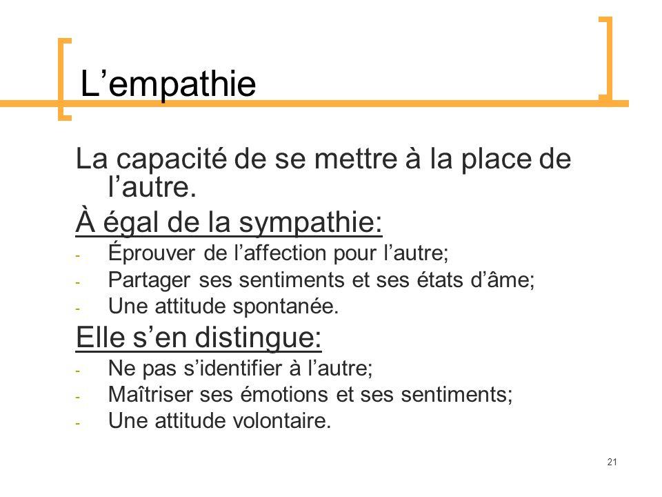 L'empathie La capacité de se mettre à la place de l'autre.