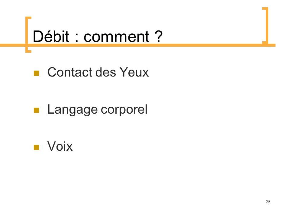 Débit : comment Contact des Yeux Langage corporel Voix