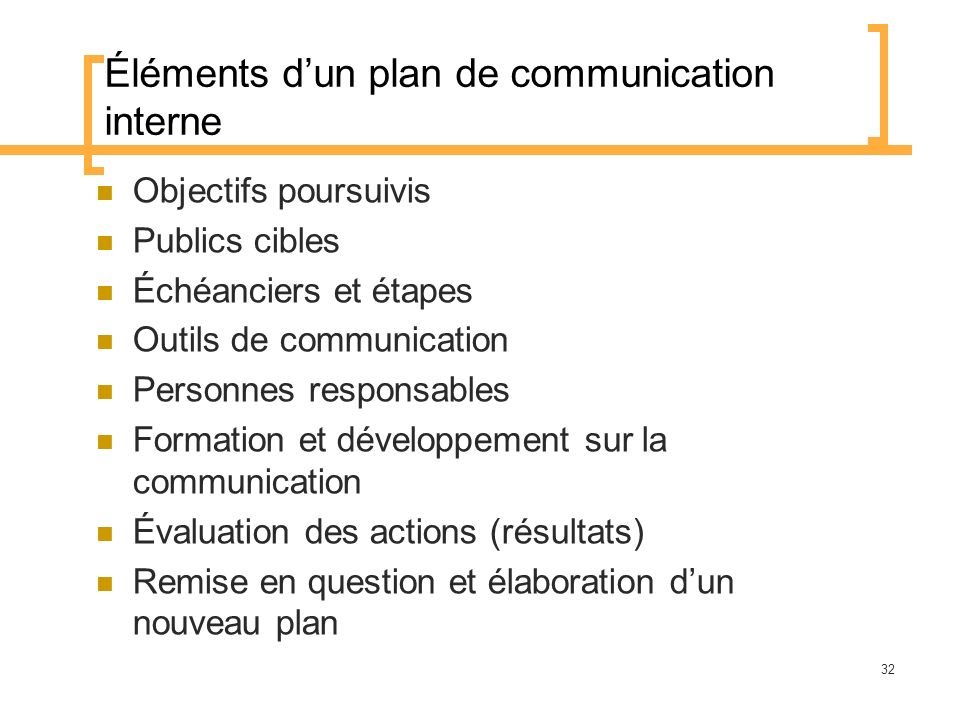Éléments d'un plan de communication interne