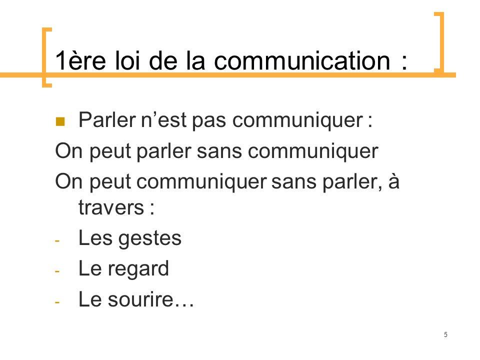1ère loi de la communication :