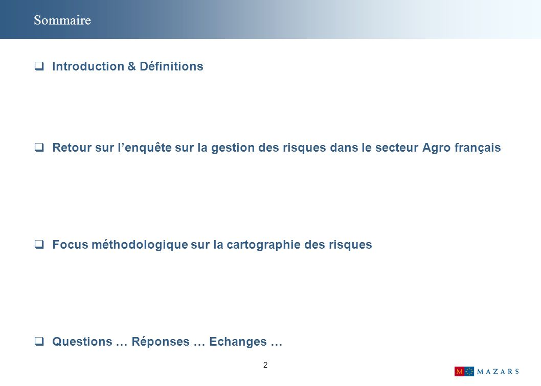 Sommaire Introduction & Définitions