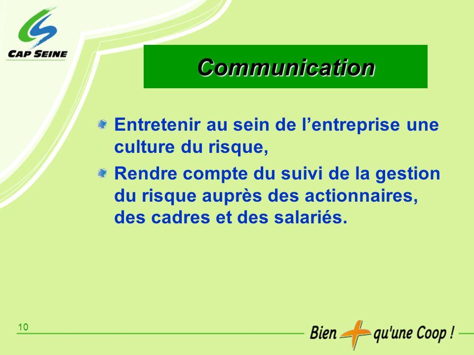 Communication Entretenir au sein de l'entreprise une culture du risque,