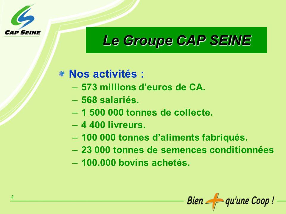 Le Groupe CAP SEINE Nos activités : 573 millions d'euros de CA.