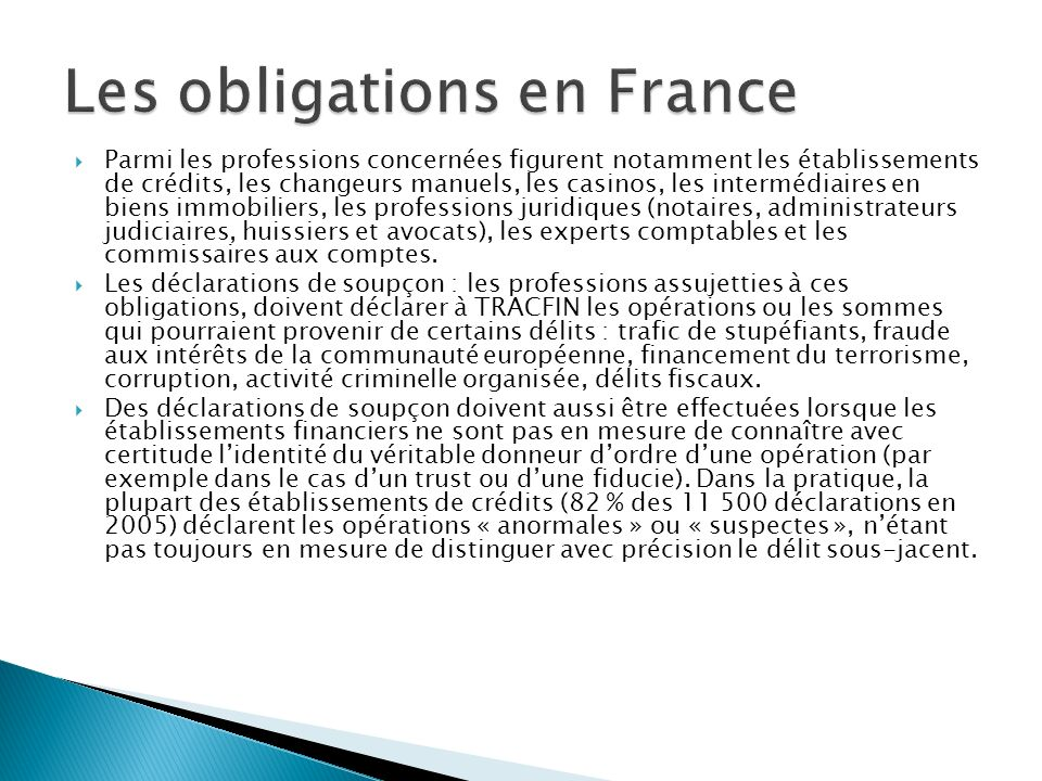 Les obligations en France