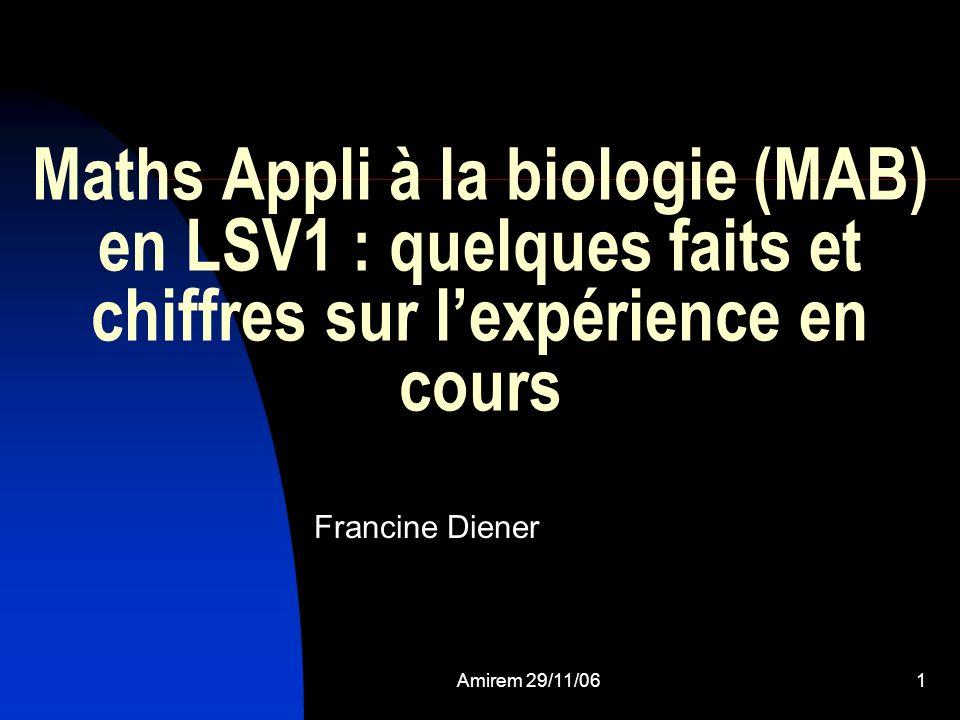 Maths Appli à la biologie (MAB) en LSV1 : quelques faits et chiffres sur l'expérience en cours