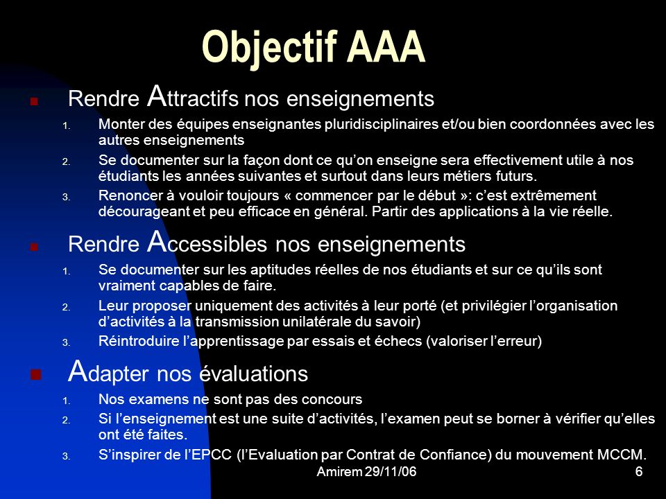 Objectif AAA Adapter nos évaluations